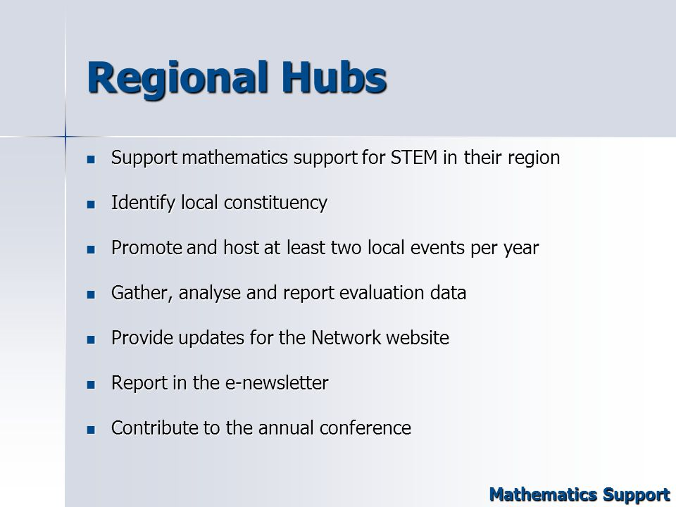 Regional Hubs Support mathematics support for STEM in their region Support mathematics support for STEM in their region Identify local constituency Identify local constituency Promote and host at least two local events per year Promote and host at least two local events per year Gather, analyse and report evaluation data Gather, analyse and report evaluation data Provide updates for the Network website Provide updates for the Network website Report in the e-newsletter Report in the e-newsletter Contribute to the annual conference Contribute to the annual conference Mathematics Support