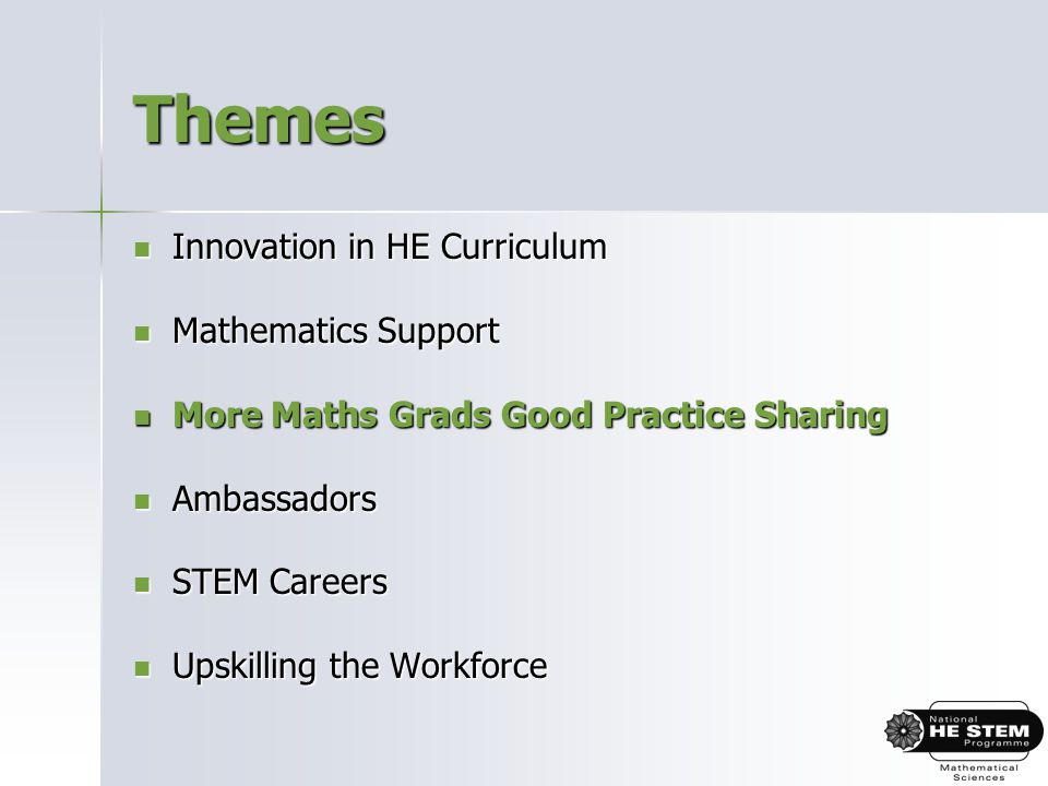 Themes Innovation in HE Curriculum Innovation in HE Curriculum Mathematics Support Mathematics Support More Maths Grads Good Practice Sharing More Maths Grads Good Practice Sharing Ambassadors Ambassadors STEM Careers STEM Careers Upskilling the Workforce Upskilling the Workforce