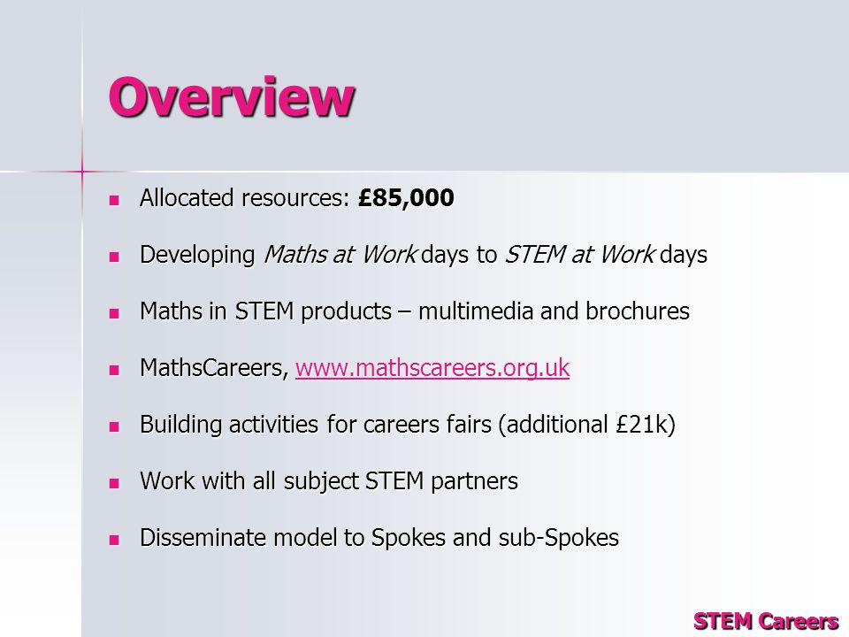 Overview Allocated resources: £85,000 Allocated resources: £85,000 Developing Maths at Work days to STEM at Work days Developing Maths at Work days to STEM at Work days Maths in STEM products – multimedia and brochures Maths in STEM products – multimedia and brochures MathsCareers, www.mathscareers.org.uk MathsCareers, www.mathscareers.org.ukwww.mathscareers.org.uk Building activities for careers fairs (additional £21k) Building activities for careers fairs (additional £21k) Work with all subject STEM partners Work with all subject STEM partners Disseminate model to Spokes and sub-Spokes Disseminate model to Spokes and sub-Spokes STEM Careers