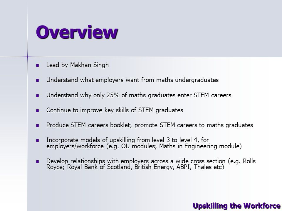 Overview Lead by Makhan Singh Lead by Makhan Singh Understand what employers want from maths undergraduates Understand what employers want from maths undergraduates Understand why only 25% of maths graduates enter STEM careers Understand why only 25% of maths graduates enter STEM careers Continue to improve key skills of STEM graduates Continue to improve key skills of STEM graduates Produce STEM careers booklet; promote STEM careers to maths graduates Produce STEM careers booklet; promote STEM careers to maths graduates Incorporate models of upskilling from level 3 to level 4, for employers/workforce (e.g.