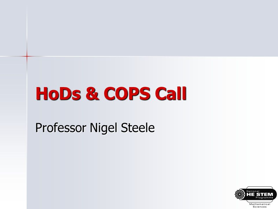 HoDs & COPS Call Professor Nigel Steele