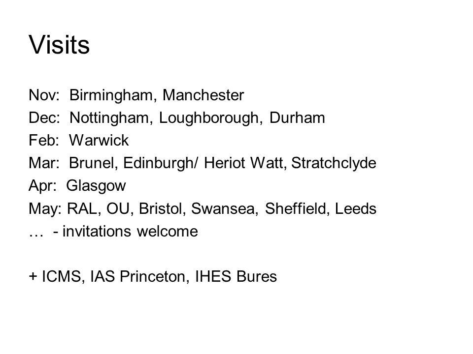 Visits Nov: Birmingham, Manchester Dec: Nottingham, Loughborough, Durham Feb: Warwick Mar: Brunel, Edinburgh/ Heriot Watt, Stratchclyde Apr: Glasgow May: RAL, OU, Bristol, Swansea, Sheffield, Leeds … - invitations welcome + ICMS, IAS Princeton, IHES Bures