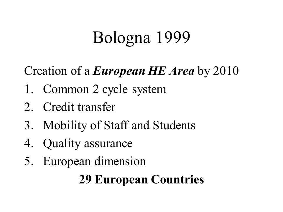 Bologna 1999 Creation of a European HE Area by 2010 1.Common 2 cycle system 2.Credit transfer 3.Mobility of Staff and Students 4.Quality assurance 5.European dimension 29 European Countries