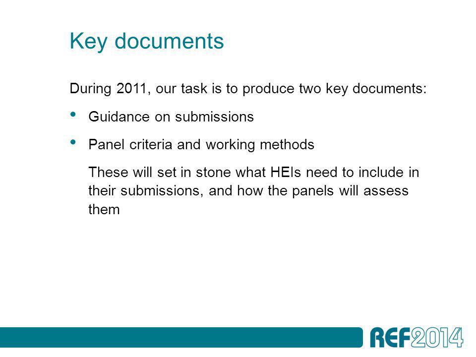 Key documents During 2011, our task is to produce two key documents: Guidance on submissions Panel criteria and working methods These will set in stone what HEIs need to include in their submissions, and how the panels will assess them