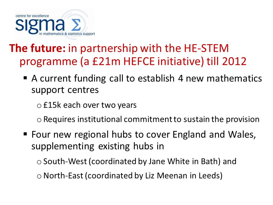 The future: in partnership with the HE-STEM programme (a £21m HEFCE initiative) till 2012  A current funding call to establish 4 new mathematics support centres o £15k each over two years o Requires institutional commitment to sustain the provision  Four new regional hubs to cover England and Wales, supplementing existing hubs in o South-West (coordinated by Jane White in Bath) and o North-East (coordinated by Liz Meenan in Leeds)