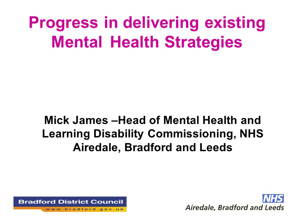 Progress in delivering existing Mental Health Strategies Mick James –Head of Mental Health and Learning Disability Commissioning, NHS Airedale, Bradfo