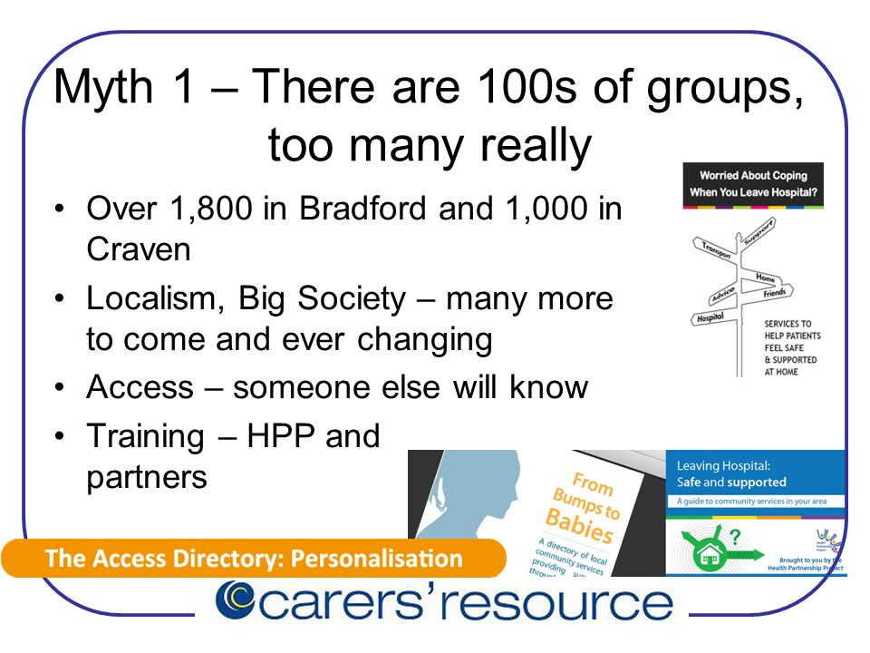 Myth 1 – There are 100s of groups, too many really Over 1,800 in Bradford and 1,000 in Craven Localism, Big Society – many more to come and ever changing Access – someone else will know Training – HPP and partners