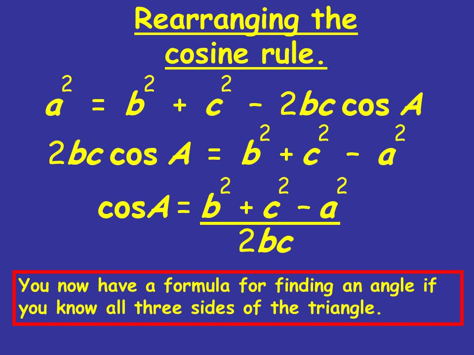 Rearranging the cosine rule. You now have a formula for finding an angle if you know all three sides of the triangle.