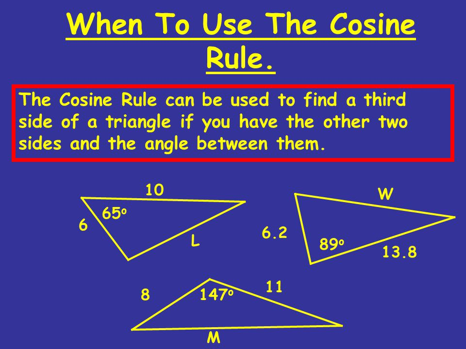 When To Use The Cosine Rule.