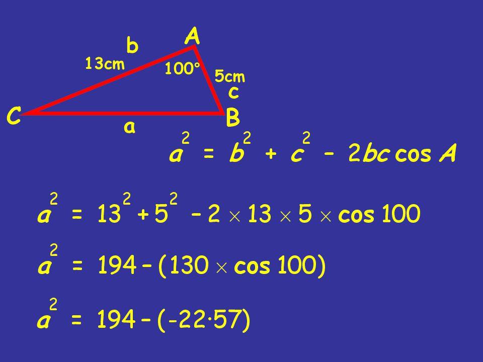 100 ° 13cm 5cm b a c
