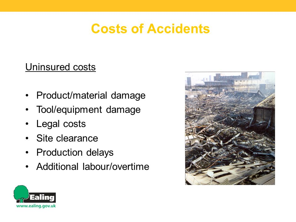 Costs of Accidents Uninsured costs Product/material damage Tool/equipment damage Legal costs Site clearance Production delays Additional labour/overtime