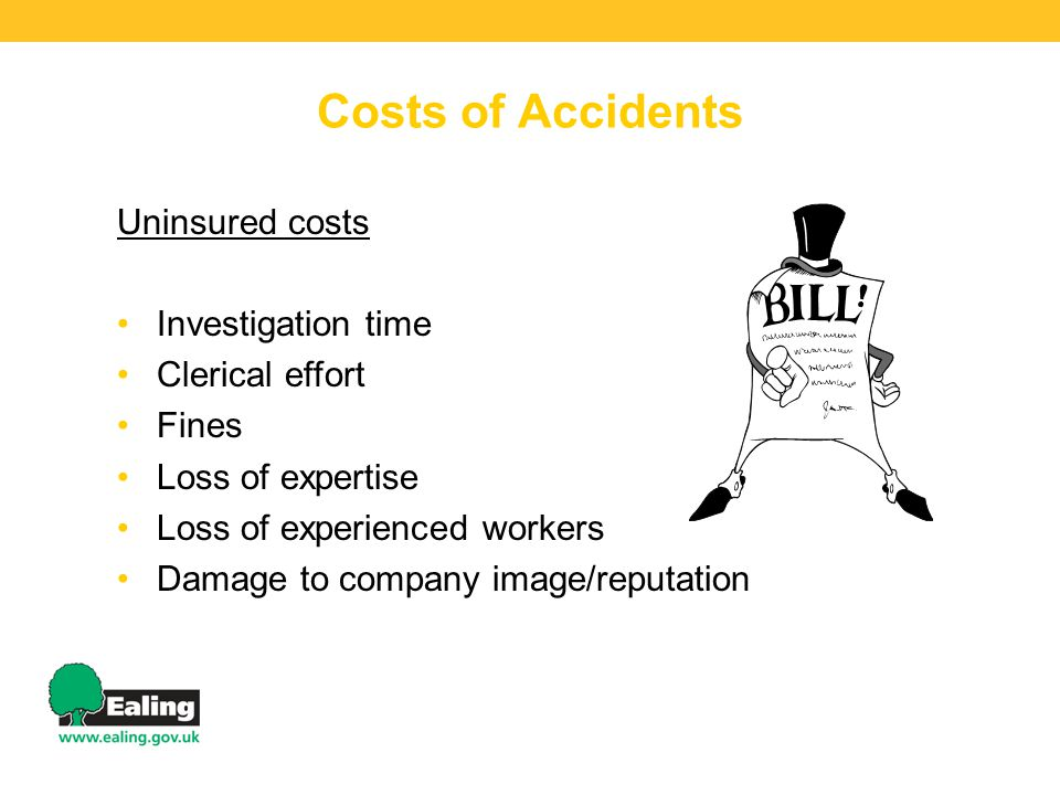 Costs of Accidents Uninsured costs Investigation time Clerical effort Fines Loss of expertise Loss of experienced workers Damage to company image/reputation