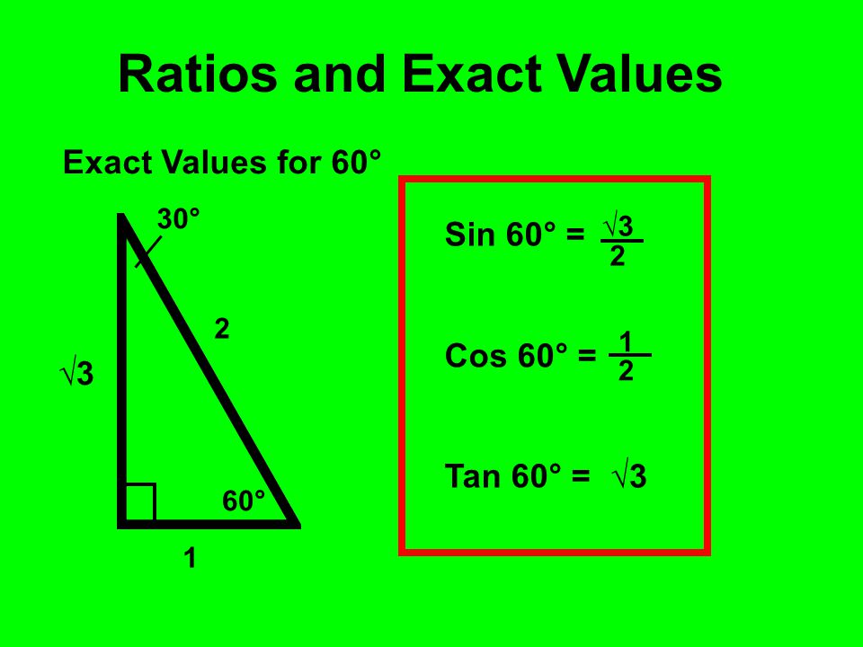 60° 30° 1 2 Ratios and Exact Values Exact Values for 60° √3√3 Sin 60° = Cos 60° = Tan 60° = 1 2 √3√3 2 √3