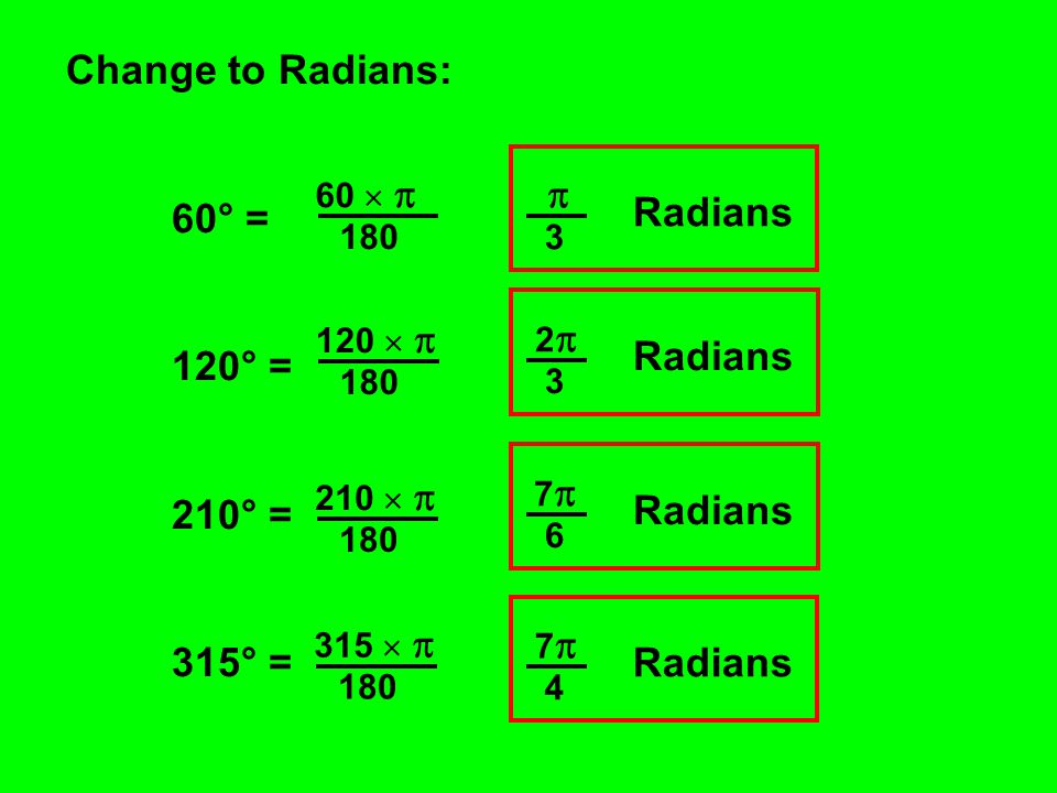 Change to Radians: 60° = 120° = 210° = 315° = 60   180 120   180 210   180 315   180  3 Radians 2 2 3 7  6 Radians 7 7 4