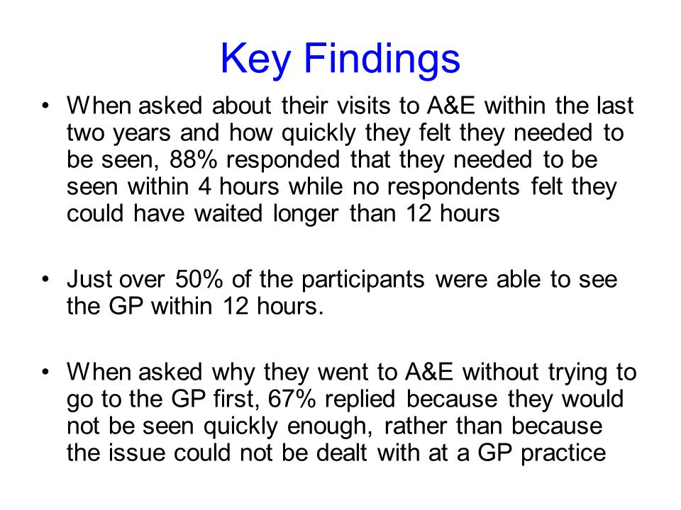 Key Findings When asked about their visits to A&E within the last two years and how quickly they felt they needed to be seen, 88% responded that they needed to be seen within 4 hours while no respondents felt they could have waited longer than 12 hours Just over 50% of the participants were able to see the GP within 12 hours.