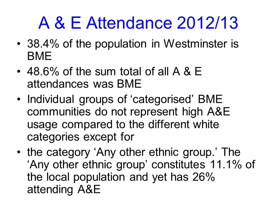 A & E Attendance 2012/13 38.4% of the population in Westminster is BME 48.6% of the sum total of all A & E attendances was BME Individual groups of 'categorised' BME communities do not represent high A&E usage compared to the different white categories except for the category 'Any other ethnic group.' The 'Any other ethnic group' constitutes 11.1% of the local population and yet has 26% attending A&E