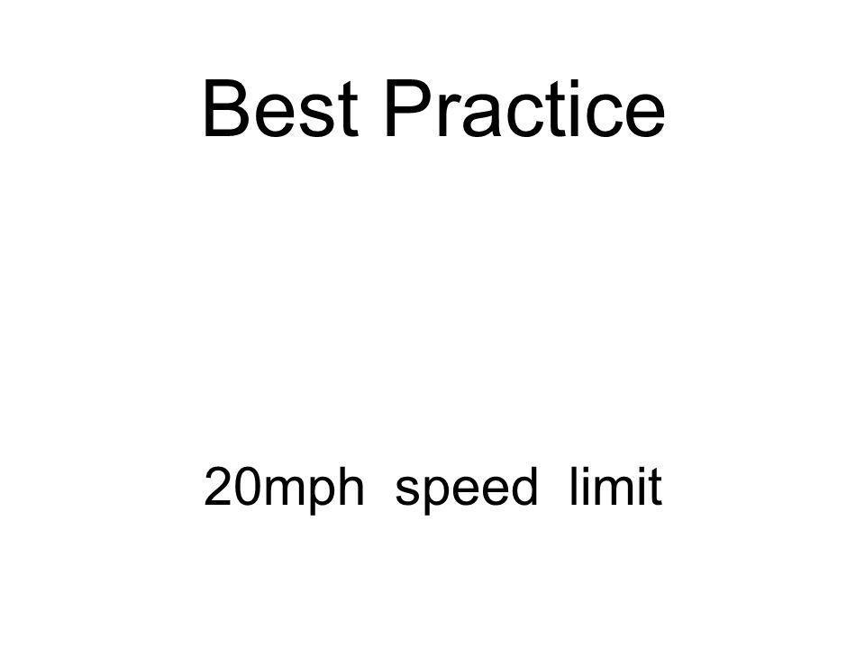 Best Practice 20mph speed limit