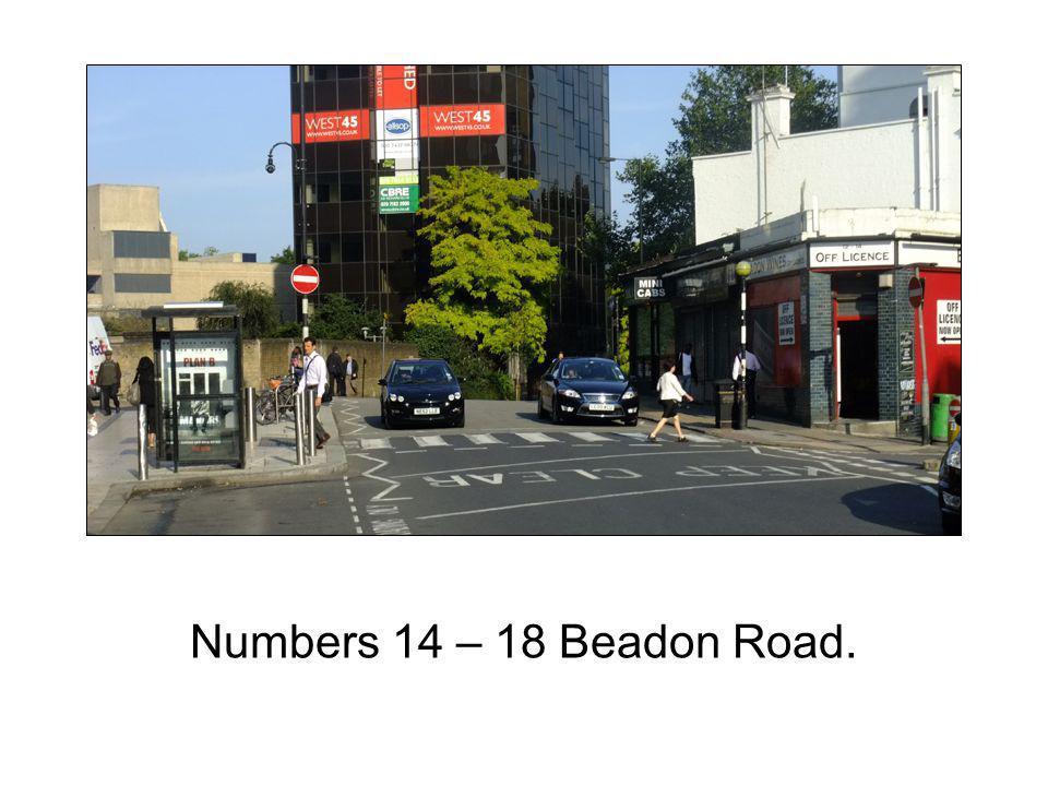 Numbers 14 – 18 Beadon Road.