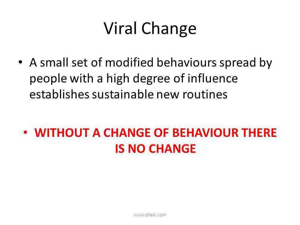 Viral Change A small set of modified behaviours spread by people with a high degree of influence establishes sustainable new routines WITHOUT A CHANGE