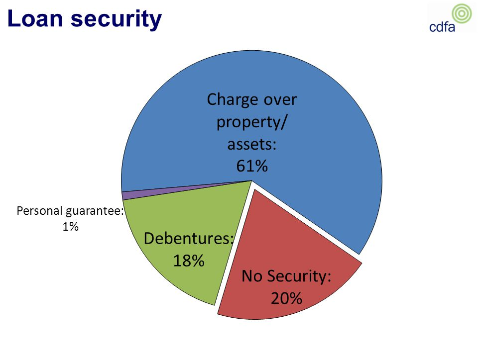 Loan security Charge over property/ assets: 61% Debentures: 18% Personal guarantee: 1% No Security: 20%