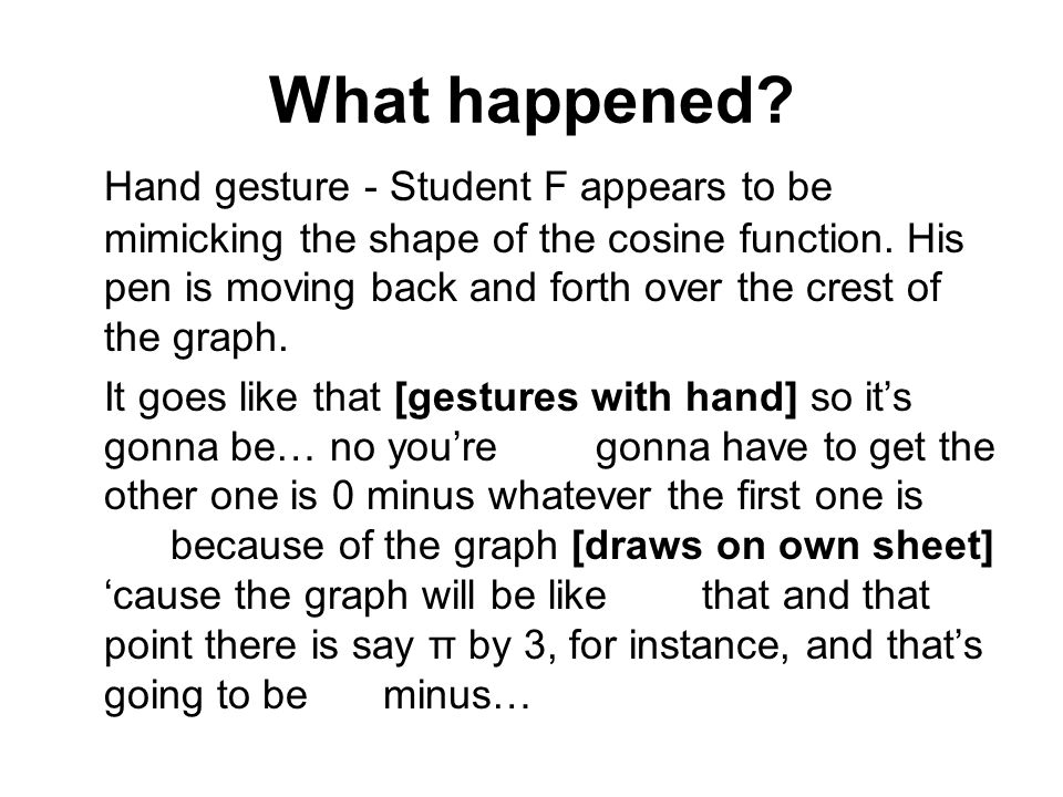What happened? Hand gesture - Student F appears to be mimicking the shape of the cosine function. His pen is moving back and forth over the crest of t