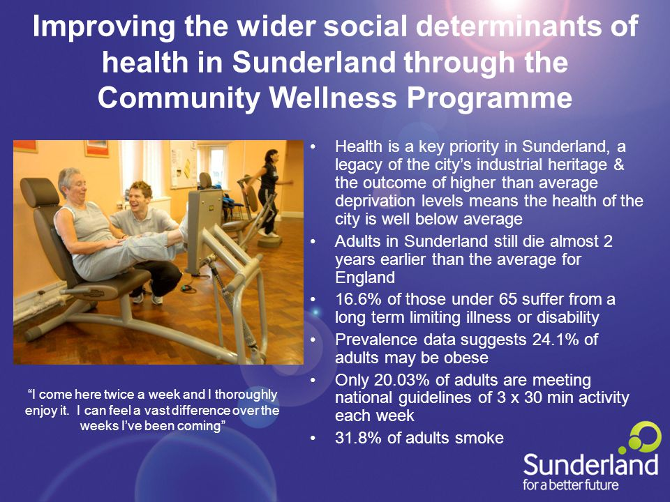 Improving the wider social determinants of health in Sunderland through the Community Wellness Programme Health is a key priority in Sunderland, a legacy of the city's industrial heritage & the outcome of higher than average deprivation levels means the health of the city is well below average Adults in Sunderland still die almost 2 years earlier than the average for England 16.6% of those under 65 suffer from a long term limiting illness or disability Prevalence data suggests 24.1% of adults may be obese Only 20.03% of adults are meeting national guidelines of 3 x 30 min activity each week 31.8% of adults smoke I come here twice a week and I thoroughly enjoy it.