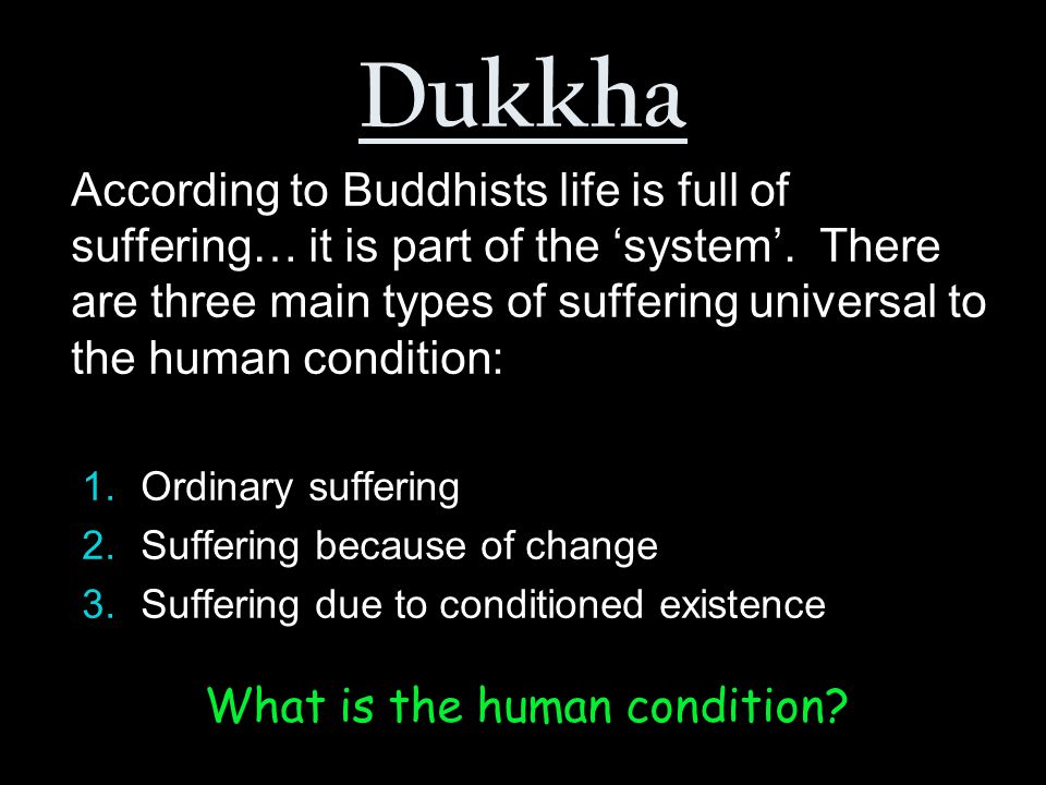 What is the human condition.Physical and mental suffering e.g.