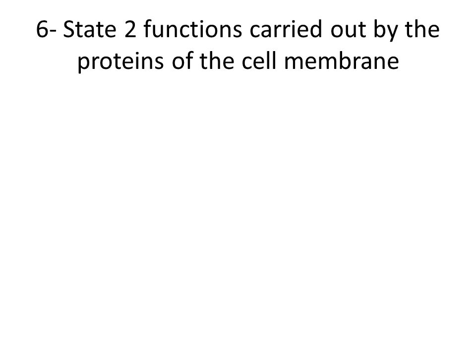 6- State 2 functions carried out by the proteins of the cell membrane