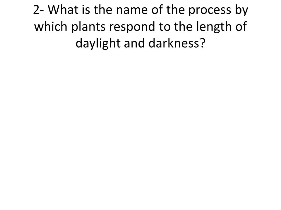 2- What is the name of the process by which plants respond to the length of daylight and darkness?