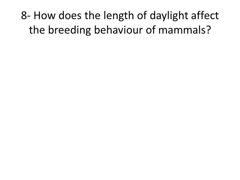 8- How does the length of daylight affect the breeding behaviour of mammals?