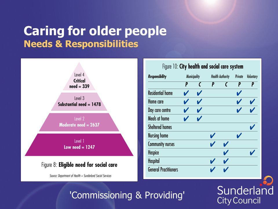 Caring for older people Needs & Responsibilities 'Commissioning & Providing'