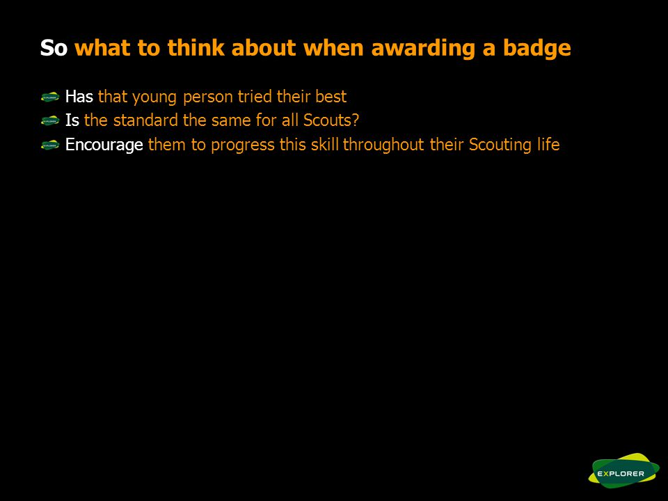 So what to think about when awarding a badge Has that young person tried their best Is the standard the same for all Scouts.