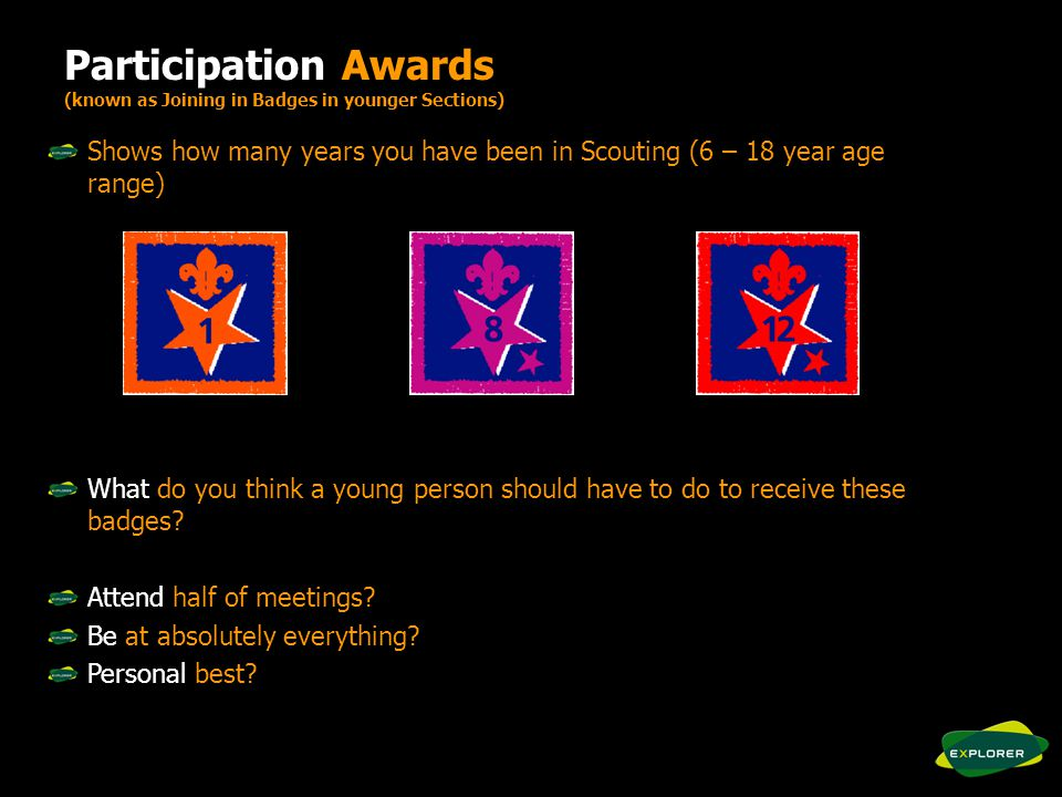 Participation Awards (known as Joining in Badges in younger Sections) Shows how many years you have been in Scouting (6 – 18 year age range) What do you think a young person should have to do to receive these badges.