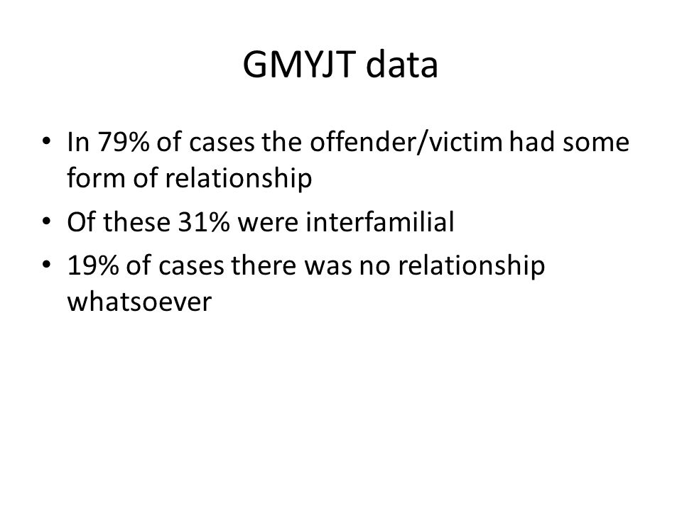 GMYJT data In 79% of cases the offender/victim had some form of relationship Of these 31% were interfamilial 19% of cases there was no relationship whatsoever