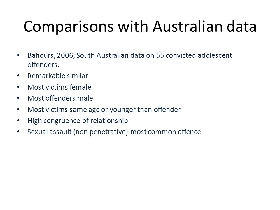 Comparisons with Australian data Bahours, 2006, South Australian data on 55 convicted adolescent offenders.