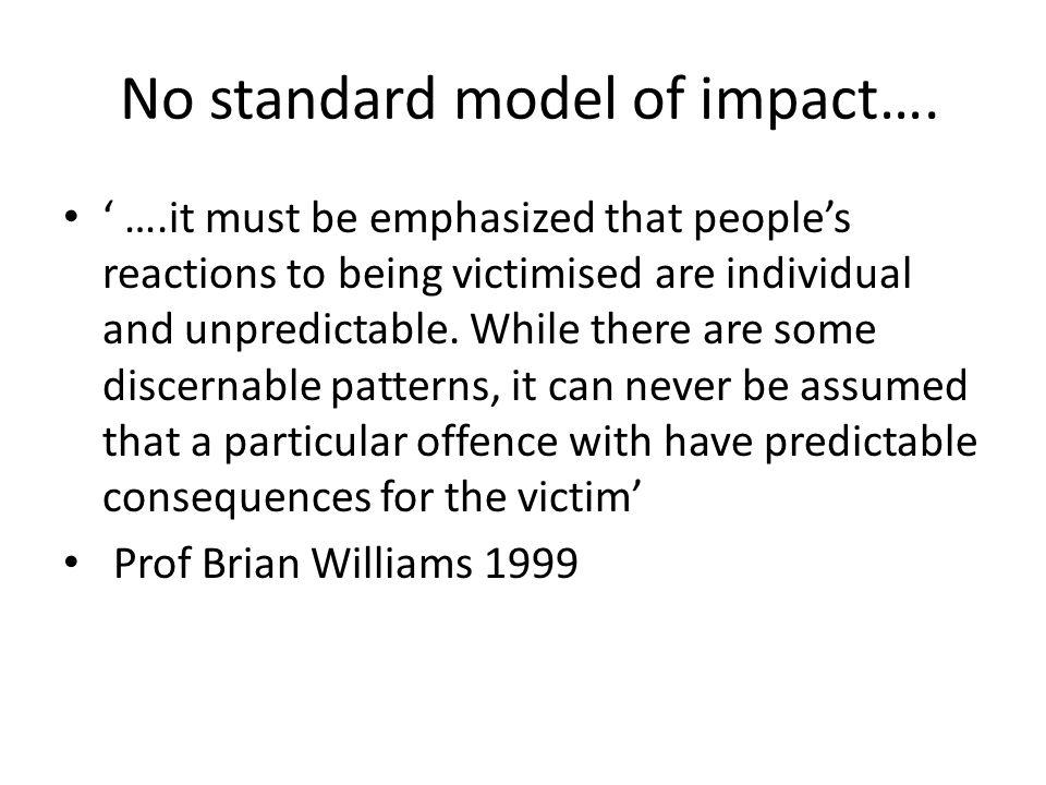 No standard model of impact….