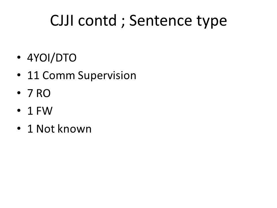 CJJI contd ; Sentence type 4YOI/DTO 11 Comm Supervision 7 RO 1 FW 1 Not known