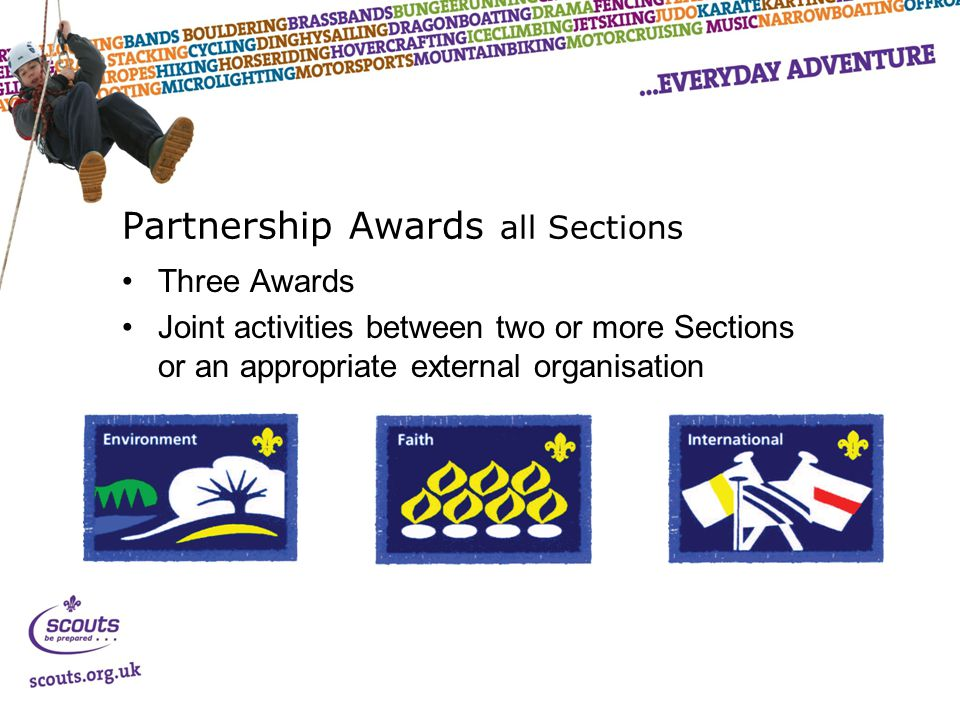Partnership Awards all Sections Three Awards Joint activities between two or more Sections or an appropriate external organisation