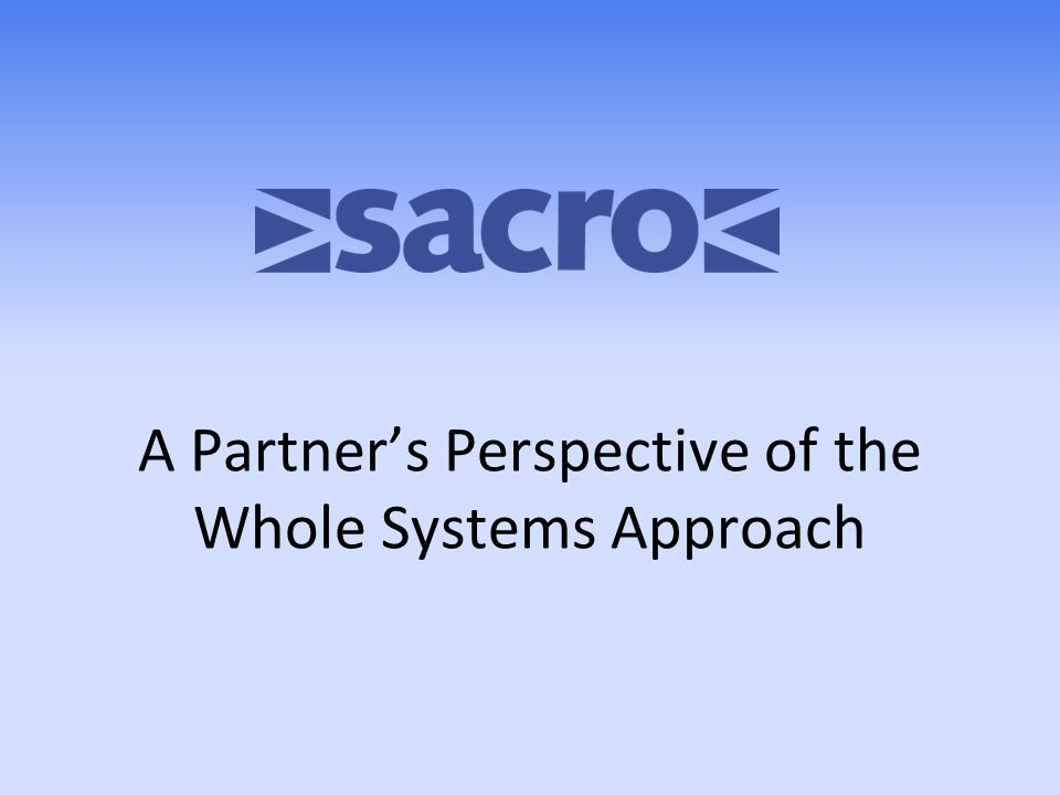 A Partner's Perspective of the Whole Systems Approach