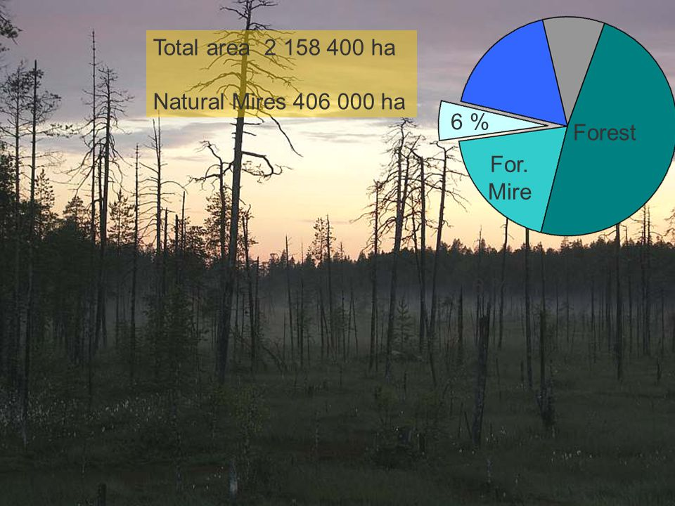 Forest, mires and lakes Total area 2 158 400 ha Natural Mires 406 000 ha 6 % Forest For. Mire 6 %