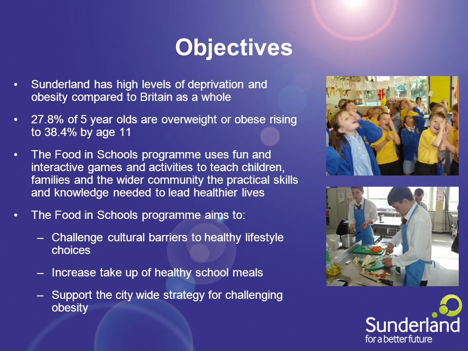 Objectives Sunderland has high levels of deprivation and obesity compared to Britain as a whole 27.8% of 5 year olds are overweight or obese rising to 38.4% by age 11 The Food in Schools programme uses fun and interactive games and activities to teach children, families and the wider community the practical skills and knowledge needed to lead healthier lives The Food in Schools programme aims to: –Challenge cultural barriers to healthy lifestyle choices –Increase take up of healthy school meals –Support the city wide strategy for challenging obesity