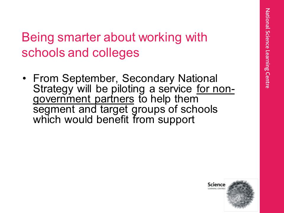 Being smarter about working with schools and colleges From September, Secondary National Strategy will be piloting a service for non- government partners to help them segment and target groups of schools which would benefit from support