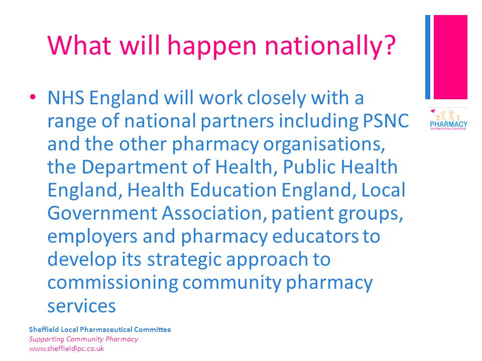 Sheffield Local Pharmaceutical Committee Supporting Community Pharmacy www.sheffieldlpc.co.uk What will happen nationally? NHS England will work close