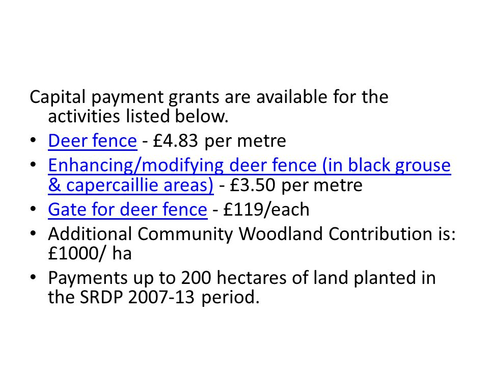 Capital payment grants are available for the activities listed below.