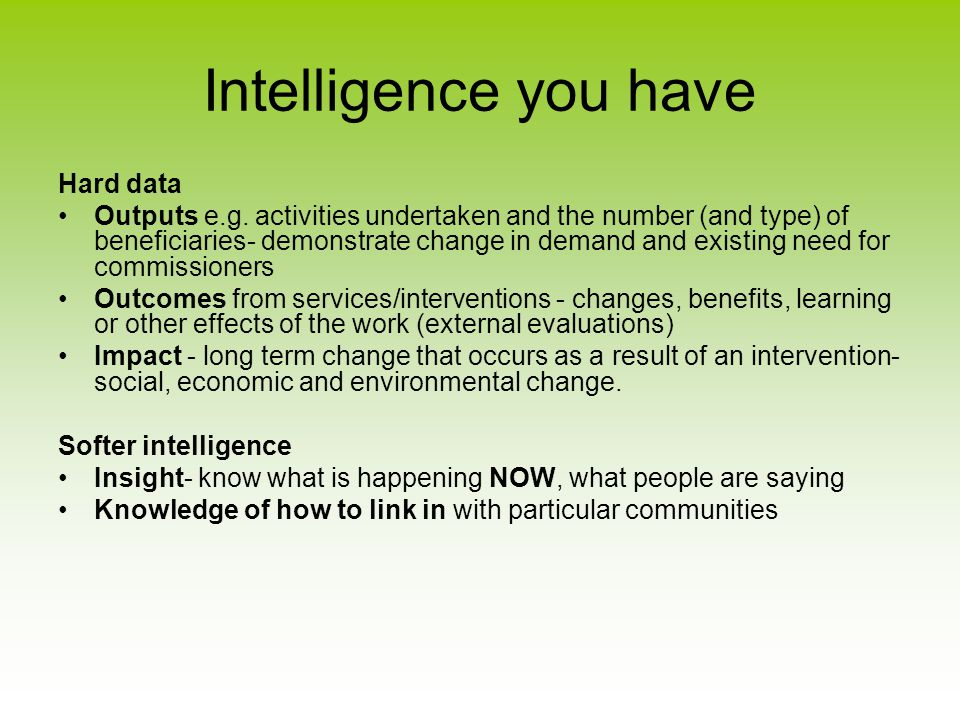 Intelligence you have Hard data Outputs e.g.