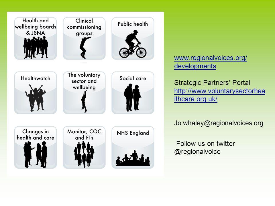 www.regionalvoices.org/ developments Strategic Partners' Portal http://www.voluntarysectorhea lthcare.org.uk/ Jo.whaley@regionalvoices.org Follow us on twitter @regionalvoice