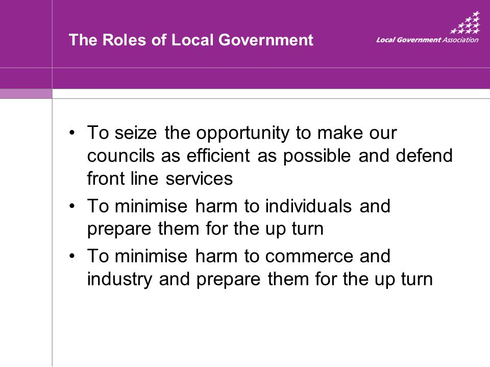The Roles of Local Government To seize the opportunity to make our councils as efficient as possible and defend front line services To minimise harm t