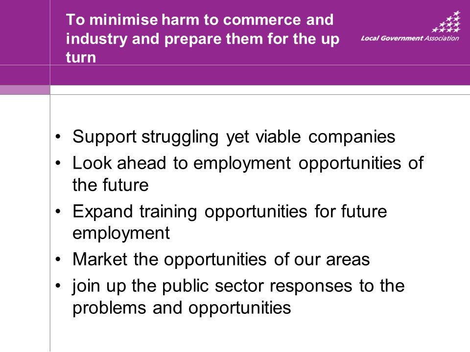 To minimise harm to commerce and industry and prepare them for the up turn Support struggling yet viable companies Look ahead to employment opportunit