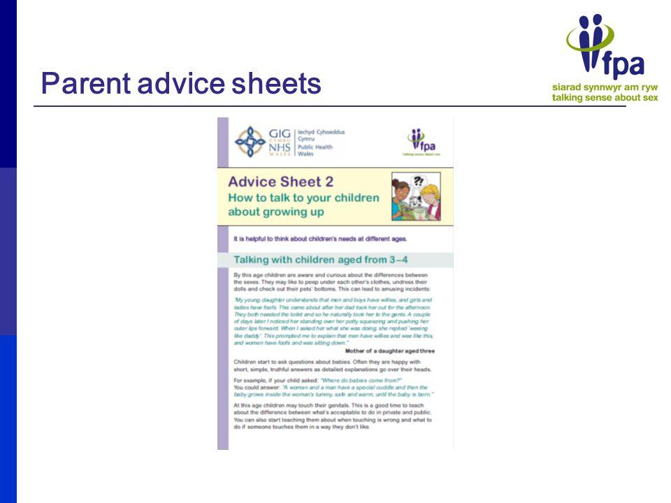 Parent advice sheets
