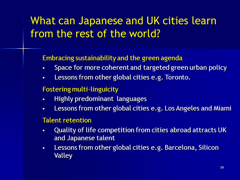 What can Japanese and UK cities learn from the rest of the world.
